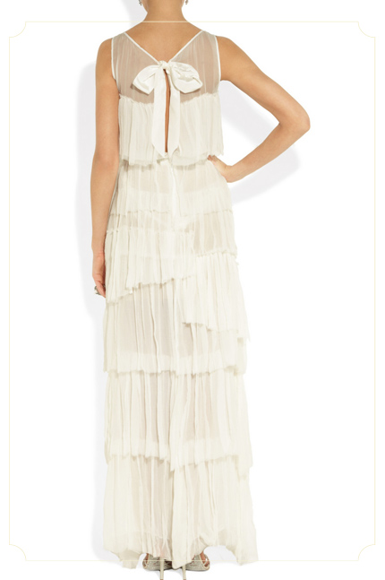 NINA RICCI - Tiered crinkled silk-chiffon gown