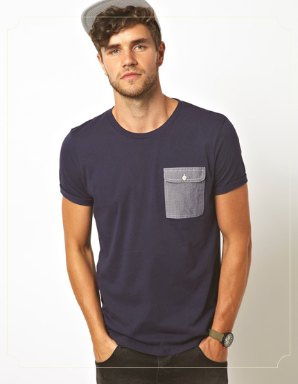 ASOS T-Shirt With Oxford Pocket And Rolled Sleeve